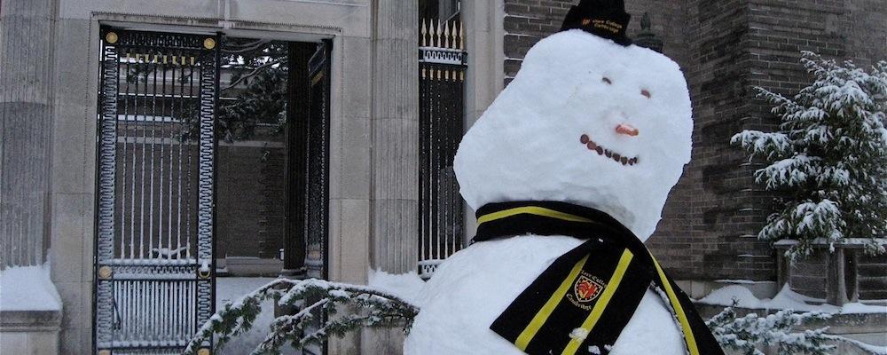 Snowman in Memorial Court